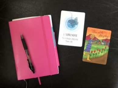 notebook and affirmation cards
