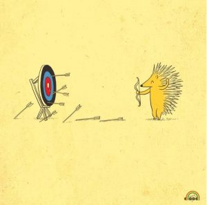 hedgehog shooting quills at target