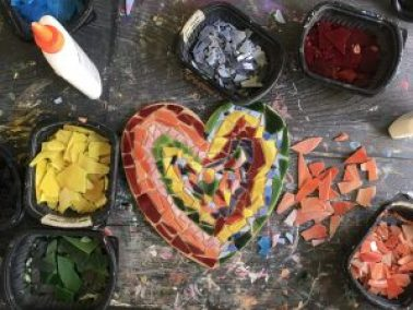 heart-shaped mosaic with rainbow colors