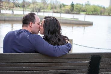 Regina Engagement Photographer - Adam & Vicki - Wascana Park Bench