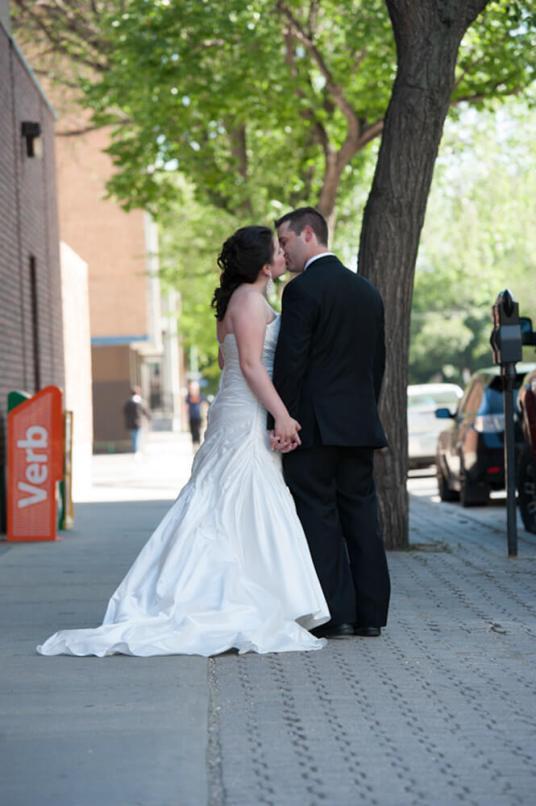Regina Wedding Photographer - Blair & Lorelle - Street Kiss
