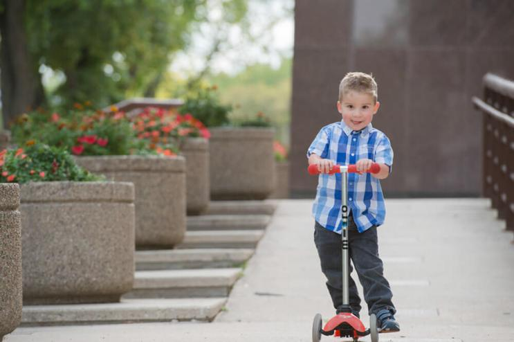 Jace riding ramp at the Co-operators in Downtown Regina