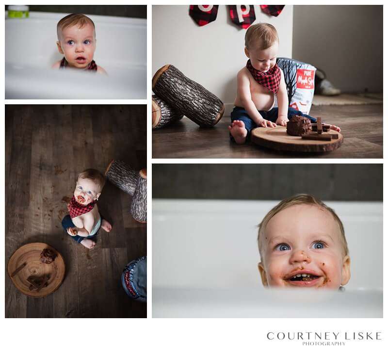 Cooper is One - Courtney Liske Photography - Regina Family Photographer - Lumberjack Cake Smash
