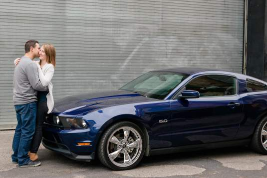Andrew & Stephanie with Ford Mustang in downtown Regina