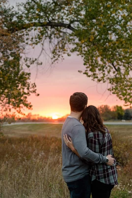 Couple overlooking the Saskatchewan sunset