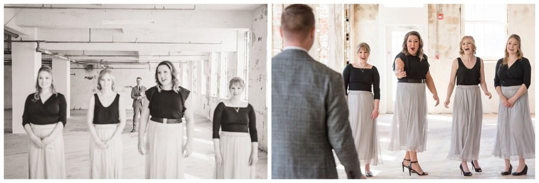 Mark & Kyra - Wedding - 15 - Mark & Kyra - First Look with Bridesmaids in Weston Bakery