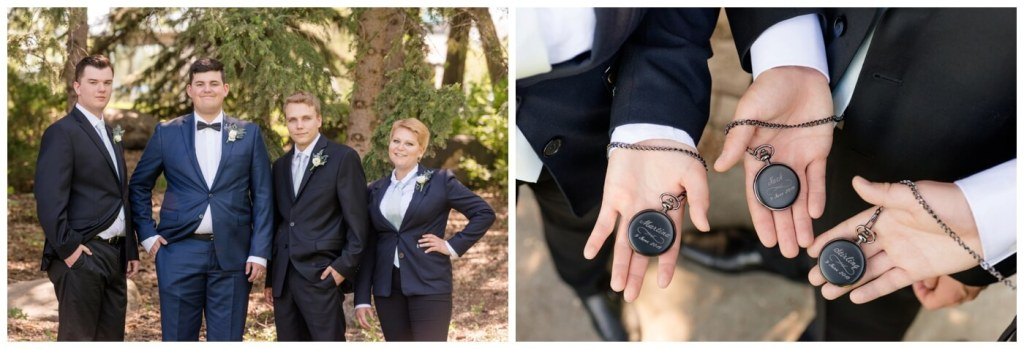 Regina Wedding Photographers - Groomsmen - Luke - Black Engraved Pocket Watches