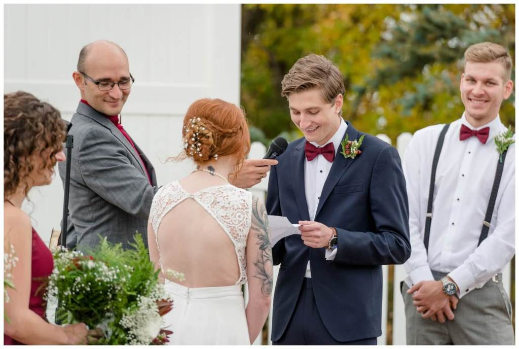 Regina Wedding Photographer - Cole-Alisha - Fall Wedding - Lace - Chiffon Wedding Gown - Navy Suit - Wedding Vows - The Office