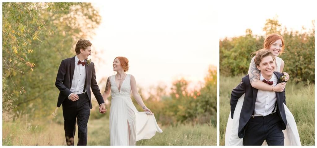 Regina Wedding Photographer - Cole-Alisha - Zadack Holdings - Bride & Groom Formals - Sunset Piggyback