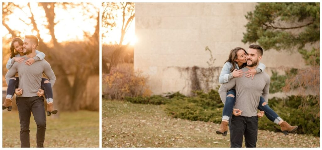 Regina Engagement Photographer - Ben-Kaitlyn - Thai Engagement - Wascana Park - Piggy Back