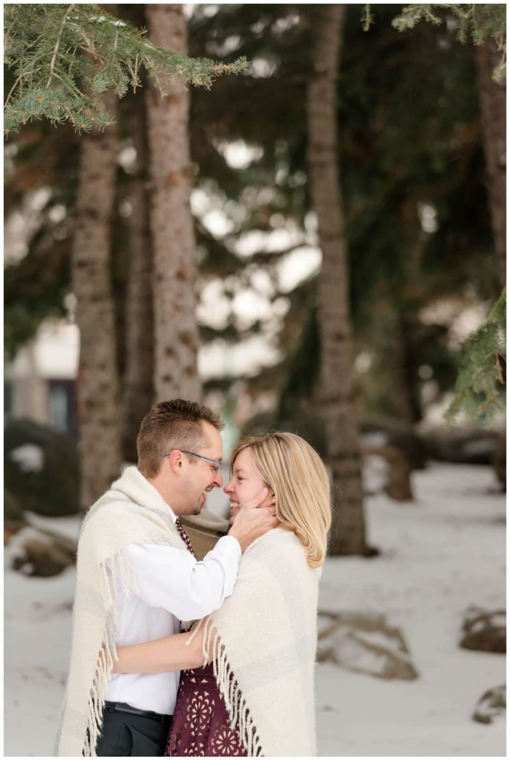 Regina Engagement Photographer - Dave-Sarah - Winter Engagement Session - Kiwanis Park Regina- Snow - Pine Trees