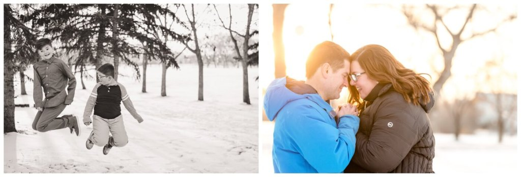Regina Family Photographer - Goudy Family - Winter Family Session - Snow - Candy Cane Park - Fortnite Dances - Winter Jacket at Sunset