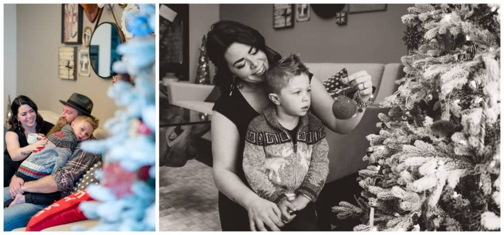 Regina Family Photographer - Keen Family - Lumsden - Dionne-Timothy-Shepherd - In home Family Session - Christmas Tree