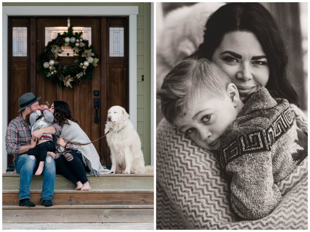 Regina Family Photographers - Keen Family - Dionne-Timothy-Shepherd - Front Porch Snuggle - Blanket - Barefeet - Blanche Devereaux