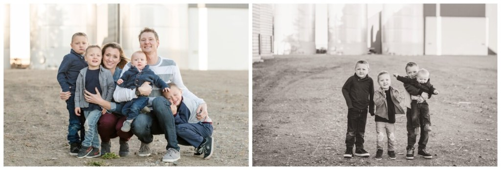 Regina Family Photography - Neufeld Family - Mike-Tamzyn-Elias-Lucas-Jarren-Ephraim - Fall Family Session - Farmyard - Waldheim - Four boys