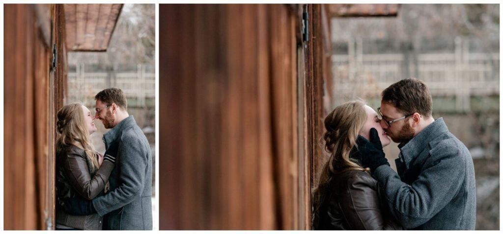 Regina Engagement Photography - Regina Wedding Photographer - Mitch-Latasha - Winter Engagement - Regina Rowing Club - Aged Barnwood