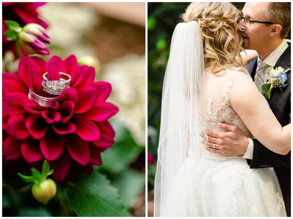 Regina Wedding Photographer - Dave - Sarah - Wedding - Regina Floral Conservatory - Red Dahlia - Man & Wife