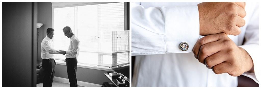 Regina Wedding Photographer - Nishant - Corrina - Groom Prep - Custom Cufflinks with picture of Miniature Schnauzer