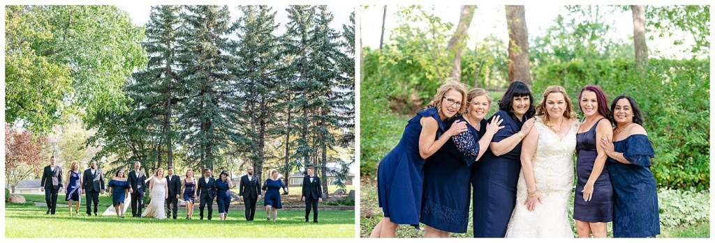 Regina Wedding Photography - Nishant - Corrina - Bridal Party Portraits - Regina Kiwanis Park - Bride & Groom walking with Bridal Party - Bridesmaids in navy blue cocktail dresses