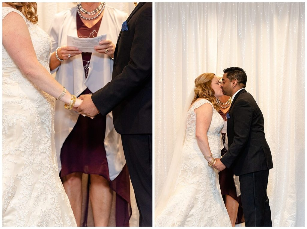 Regina Wedding Photography - Nishant - Corrina - Ceremony - First kiss as husband and wife