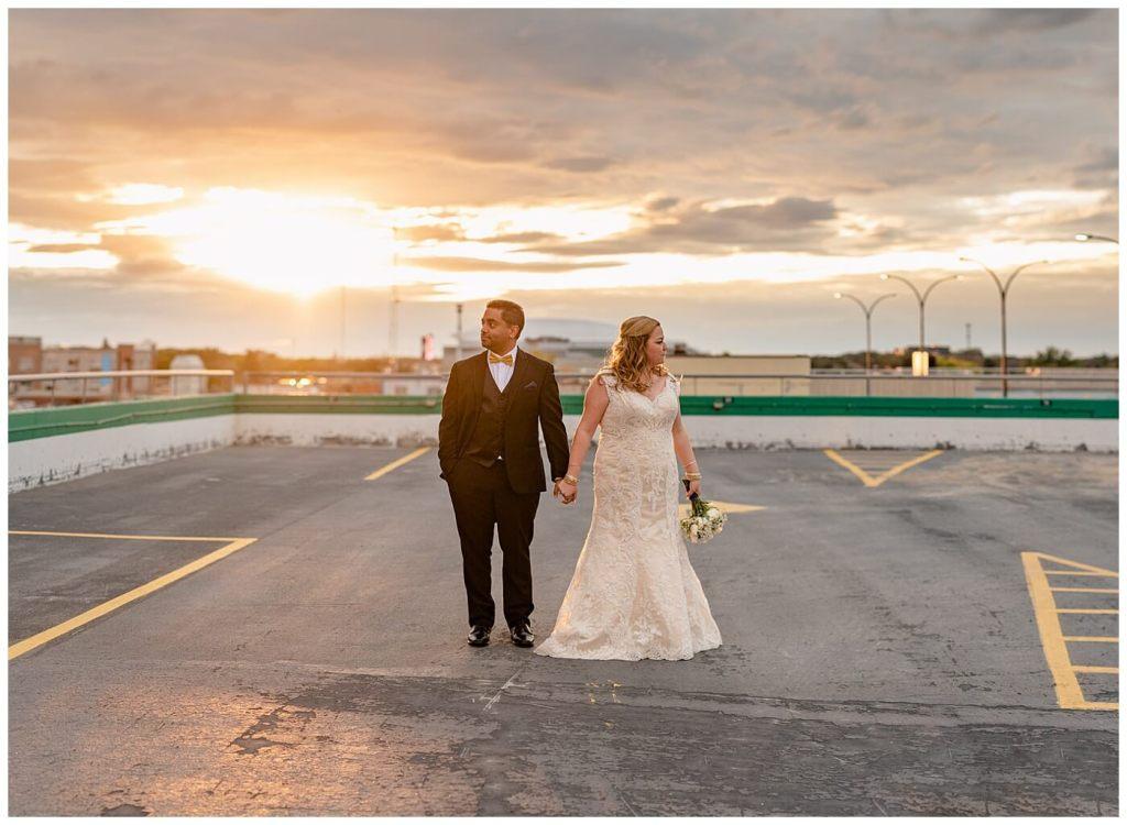 Regina Wedding Photography - Nishant - Corrina - Sunset Photos on Parkade roof