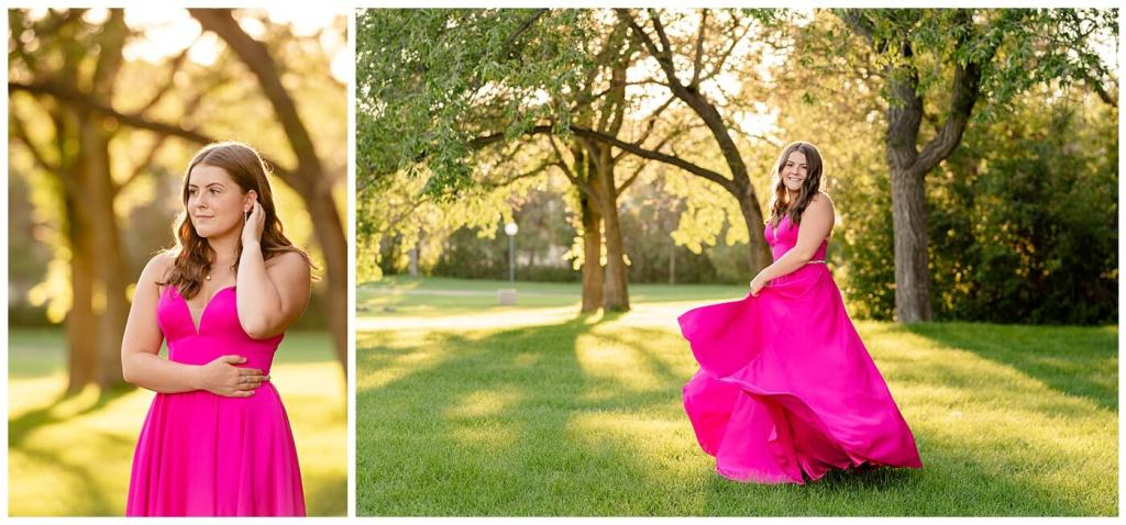 Regina Family Photographers - Georgia Graduation 2020 - Summer Graduation Session - Girl in vibrant pink dress twirling in the park