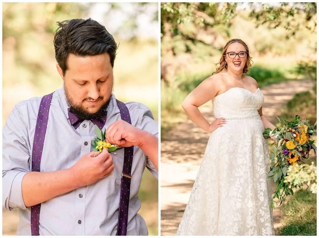 Regina Wedding Photographer - Ryan - Aeliesha - Groom adjusts his boutonniere from Wascana Flower Shoppe