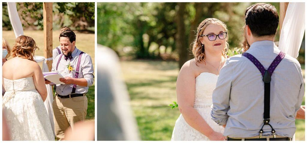 Regina Wedding Photography - Ryan - Aeliesha - Bride & groom exchange vows in AE Wilson Park