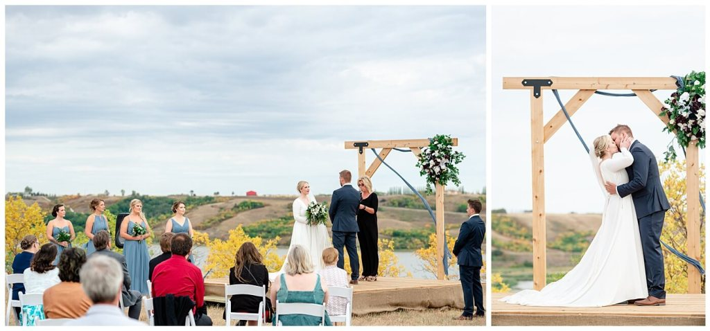 Regina Wedding Photography - Tyrel - Allison - Bride & Groom exchanging vows overlooking the QuAppelle Valley in fall