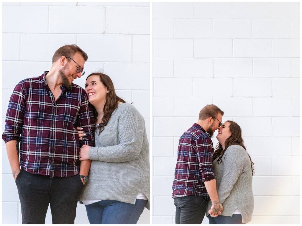 Regina Engagement Photographer - Kolton & Maxine - 004 - kissing on rose street