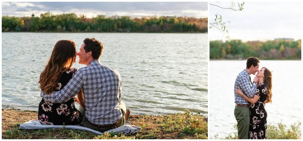 Regina Engagement Photography - 008 - Tim & Jennelle - Kissing by wascana lake
