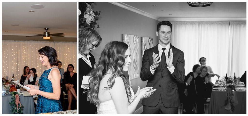 Regina Wedding Photographer - Tim & Jennelle At Home Wedding - Aunt reading poem at ceremony