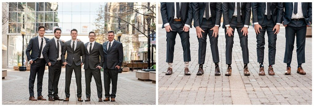 Regina Wedding Photographer - Tim & Jennelle At Home Wedding - Groom & Groomsmen on Scarth street