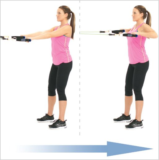 standing row elastic bands