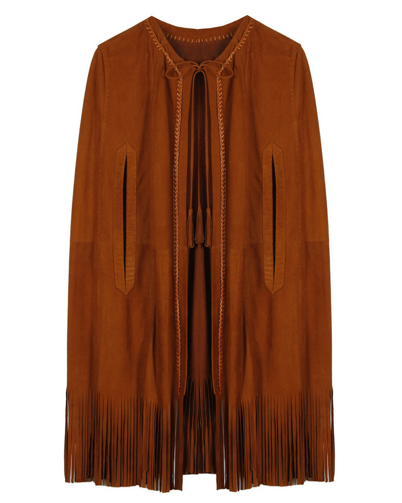 brown suede fringe poncho