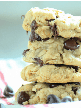 -Vegan Oatmeal Chocolate Chip Cookies-