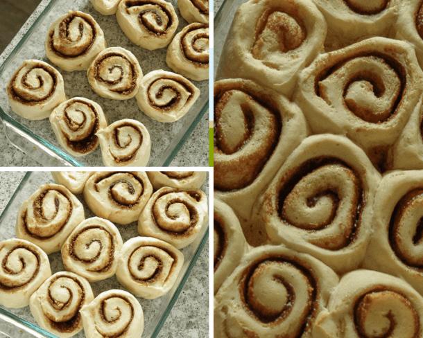 The stages of vegan cinnamon rolls