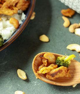 "vegan soy curl cashew ""chicken"""