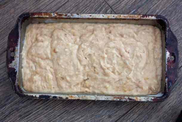easy vegan banana bread dough in a pan