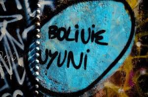Graffiti on one of the trains in the Uyuni train cemetery.