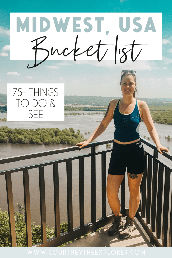 34 hikes, 11 cute small towns, 10 Midwest hidden treasures, and the best cities to visit this summer! A bucket list for Midwest travel - explore middle America (the best place on earth, yeah?)!! Illinois, Indiana, Kanas, Iowa, Michigan, Minnesota, Ohio, Missouri, Nebraska, North Dakota, South Dakota, and Wisconsin! 75+ places to see and things to do this summer! #midwesttravel #usatravel #localtravel #travel