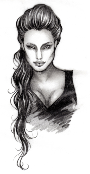 After working a little, I really loved the sketchiness of this illustration.  It really looked like Jolie, but maintained a stylistic approach.