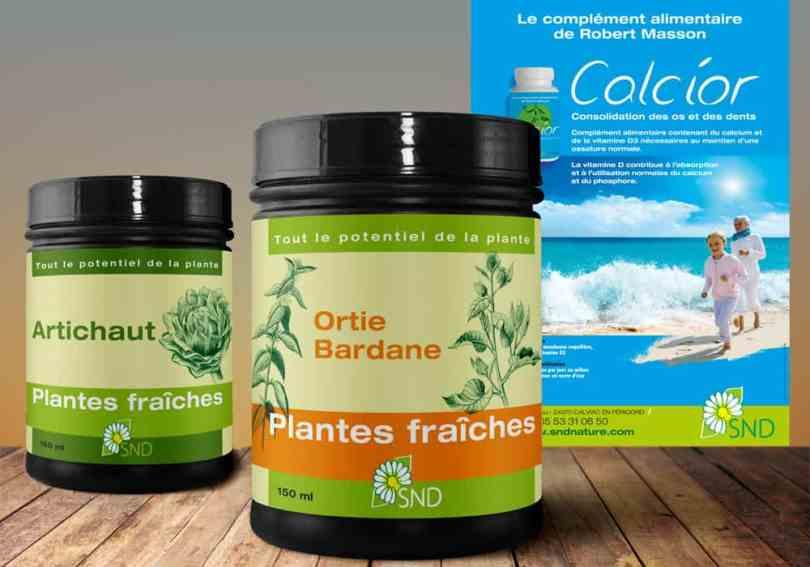 annonce calcior et pots plantes fraîches santé nature, complément alimentaire de robert masson