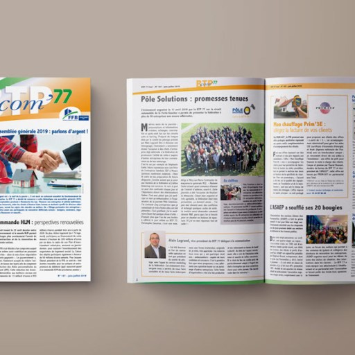 journal interne du BTP 77 BTP com' couverture et pages ouvertes