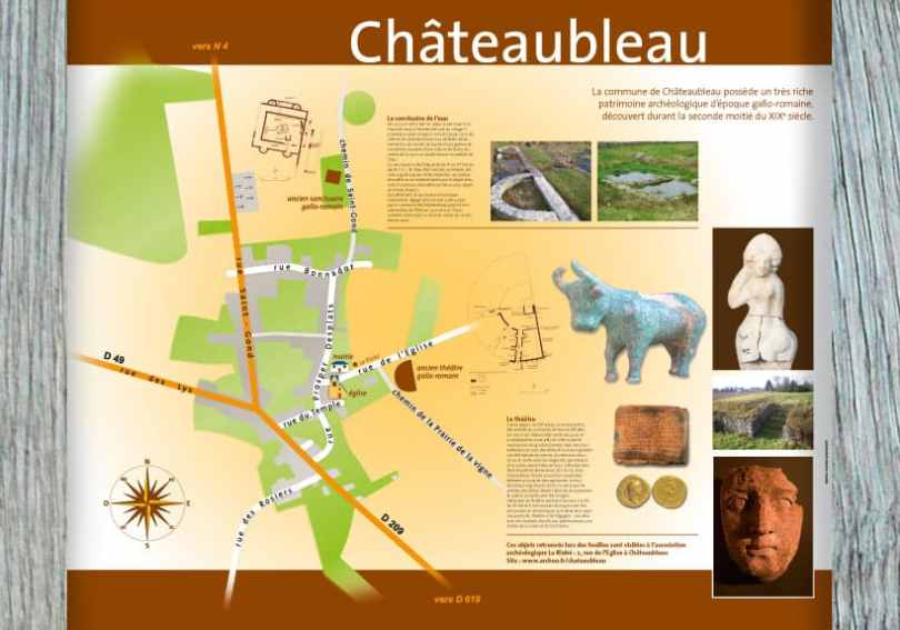 panneau plan de ville chateaubleau seine-et-marne