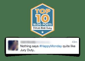Tweet about jury duty on Monday mornings