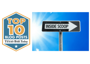 Texas Bar today logo and a sign that says Inside Scoop