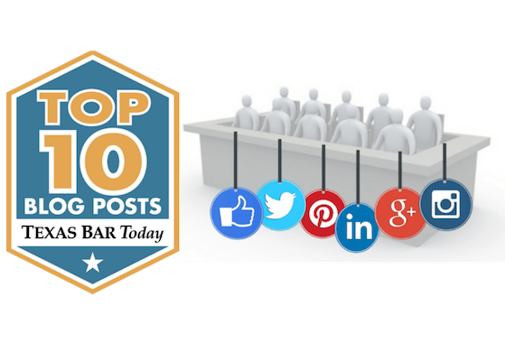 Logo for Top 10 blog posts from Texas Bar