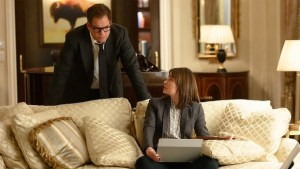 "Dr. Jason Bull and former Homeland Security agent Taylor Rentzel in the CBS drama ""Bull"""
