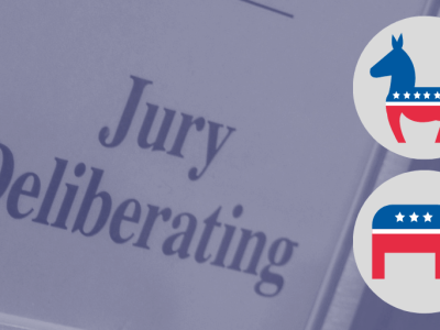 Jury Deliberating sign with symbols for the Democratic and Republican party, illustrating the role politics can play in the jury room
